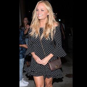 TOPSHOP Spot Frill Bardot Polka Dot Dress sz 6